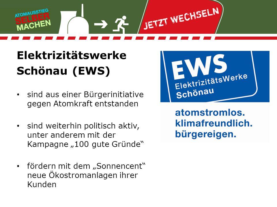 Elektrizitätswerke Schönau (EWS) sind aus einer Bürgerinitiative gegen Atomkraft entstanden sind weiterhin politisch aktiv, unter anderem mit der Kamp