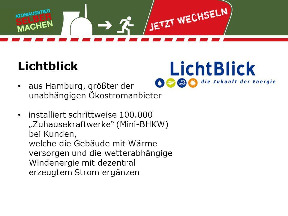 Lichtblick aus Hamburg, größter der unabhängigen Ökostromanbieter installiert schrittweise 100.000 Zuhausekraftwerke (Mini-BHKW) bei Kunden, welche di