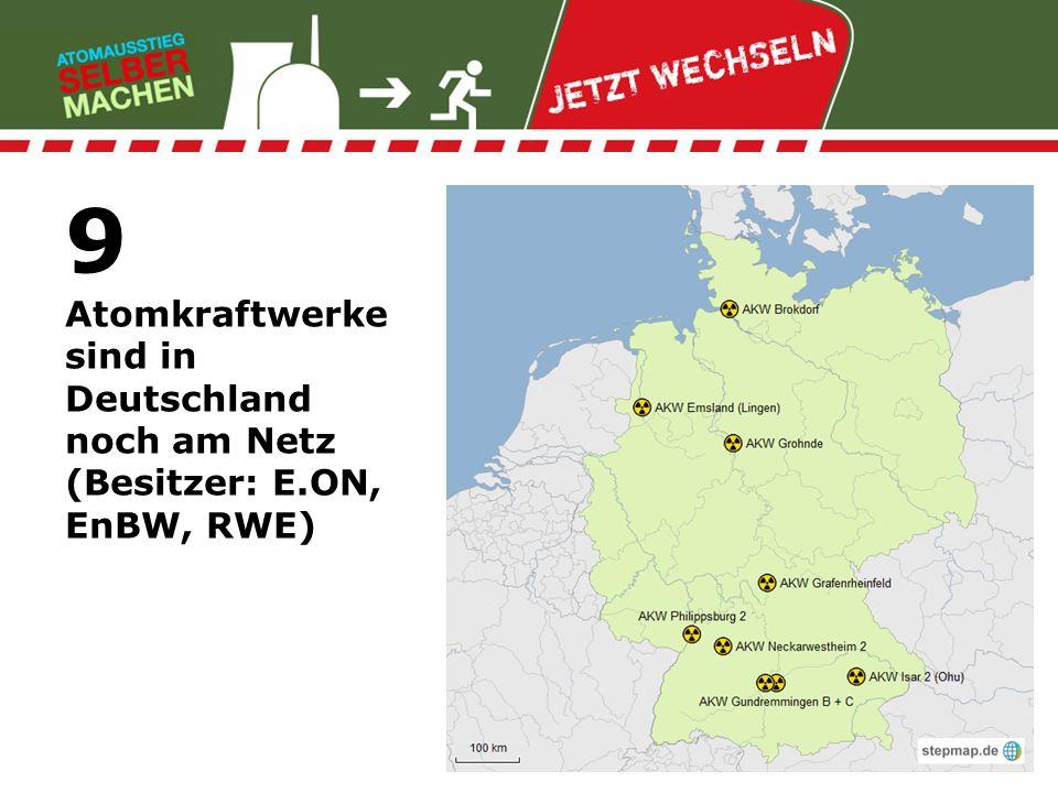 10% aller Atomkraftwerke weltweit beliefert die deutsche Urananreicherungs- anlage mit Brennstoff (Besitzer: E.ON, RWE u.a.)