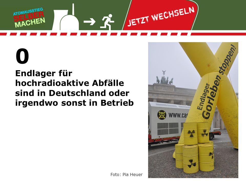 0 Endlager für hochradioaktive Abfälle sind in Deutschland oder irgendwo sonst in Betrieb Foto: Pia Heuer