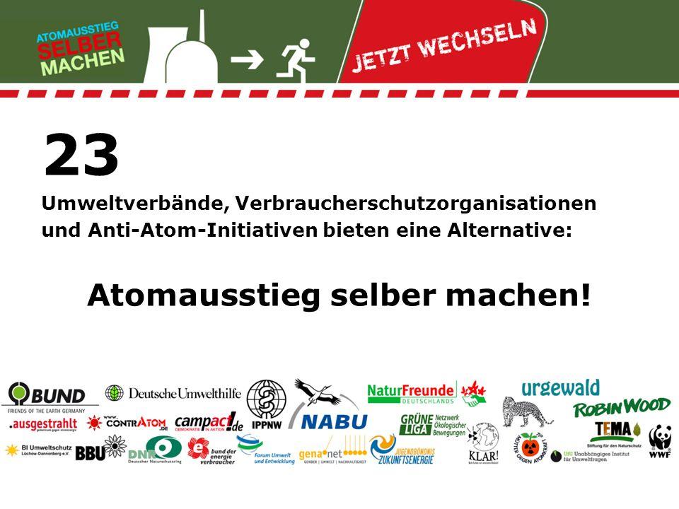 23 Umweltverbände, Verbraucherschutzorganisationen und Anti-Atom-Initiativen bieten eine Alternative: Atomausstieg selber machen!