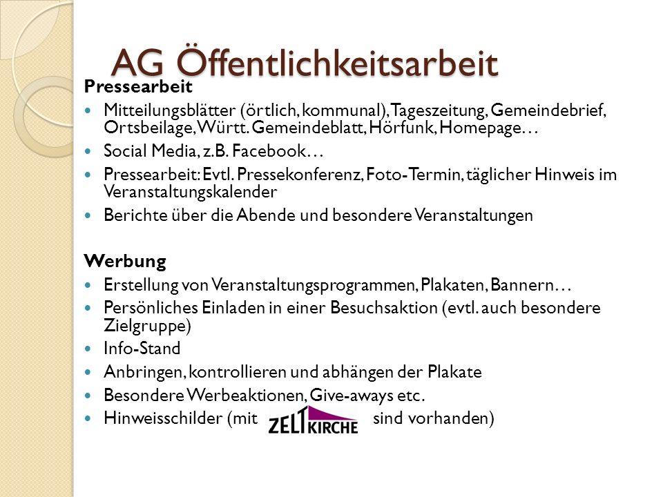AG Öffentlichkeitsarbeit Pressearbeit Mitteilungsblätter (örtlich, kommunal), Tageszeitung, Gemeindebrief, Ortsbeilage, Württ. Gemeindeblatt, Hörfunk,