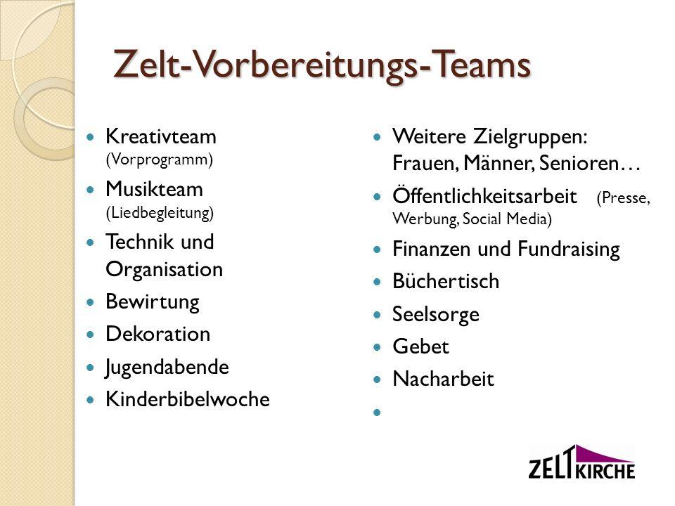 Zelt-Vorbereitungs-Teams Kreativteam (Vorprogramm) Musikteam (Liedbegleitung) Technik und Organisation Bewirtung Dekoration Jugendabende Kinderbibelwo