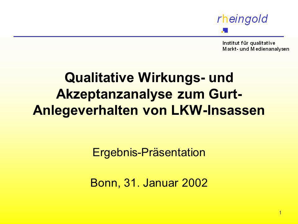 1 Qualitative Wirkungs- und Akzeptanzanalyse zum Gurt- Anlegeverhalten von LKW-Insassen Ergebnis-Präsentation Bonn, 31. Januar 2002