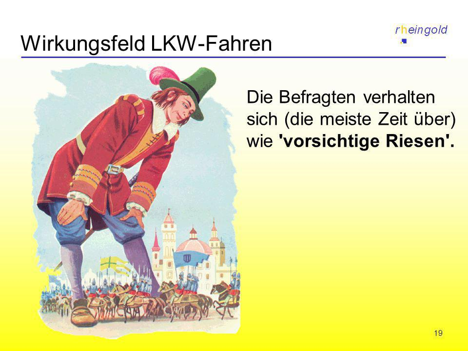 19 Wirkungsfeld LKW-Fahren Die Befragten verhalten sich (die meiste Zeit über) wie 'vorsichtige Riesen'.