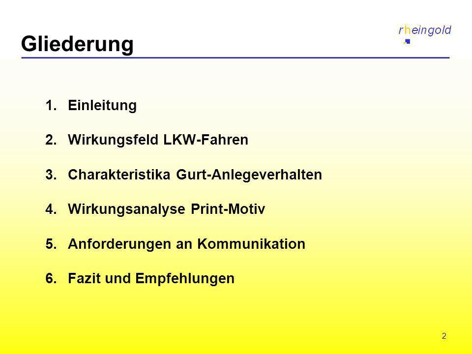 2 Gliederung 1. Einleitung 2. Wirkungsfeld LKW-Fahren 3.Charakteristika Gurt-Anlegeverhalten 4.Wirkungsanalyse Print-Motiv 5.Anforderungen an Kommunik