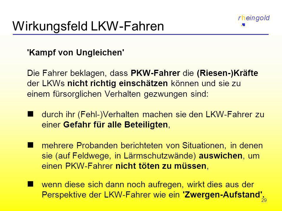 29 Wirkungsfeld LKW-Fahren 'Kampf von Ungleichen' Die Fahrer beklagen, dass PKW-Fahrer die (Riesen-)Kräfte der LKWs nicht richtig einschätzen können u