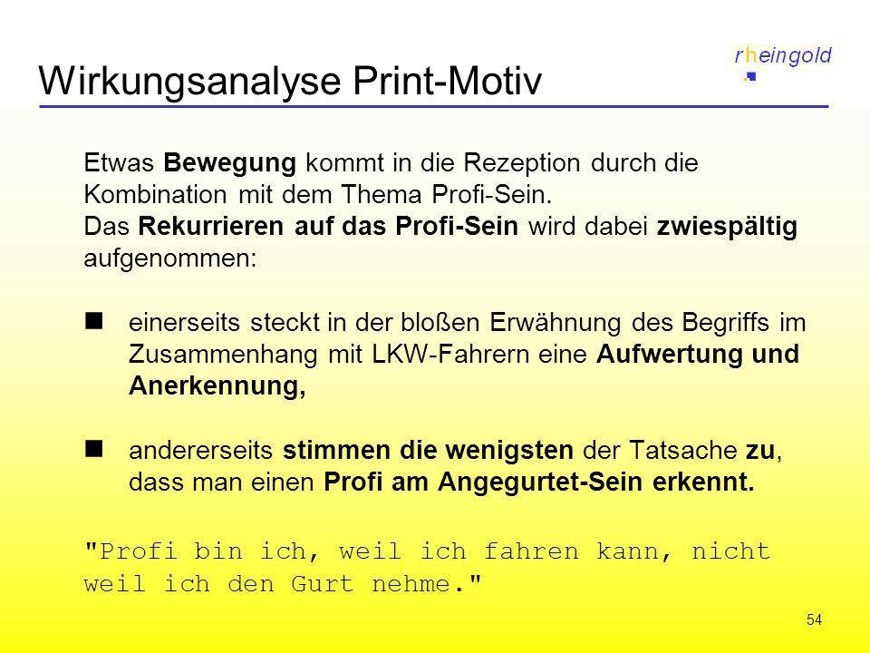 54 Wirkungsanalyse Print-Motiv Etwas Bewegung kommt in die Rezeption durch die Kombination mit dem Thema Profi-Sein. Das Rekurrieren auf das Profi-Sei