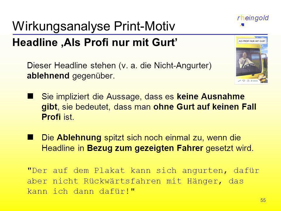 55 Wirkungsanalyse Print-Motiv Headline,Als Profi nur mit Gurt Dieser Headline stehen (v. a. die Nicht-Angurter) ablehnend gegenüber. Sie impliziert d