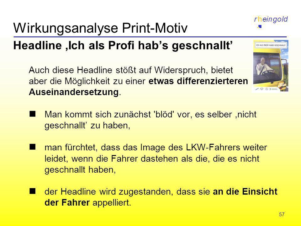 57 Wirkungsanalyse Print-Motiv Headline,Ich als Profi habs geschnallt Auch diese Headline stößt auf Widerspruch, bietet aber die Möglichkeit zu einer