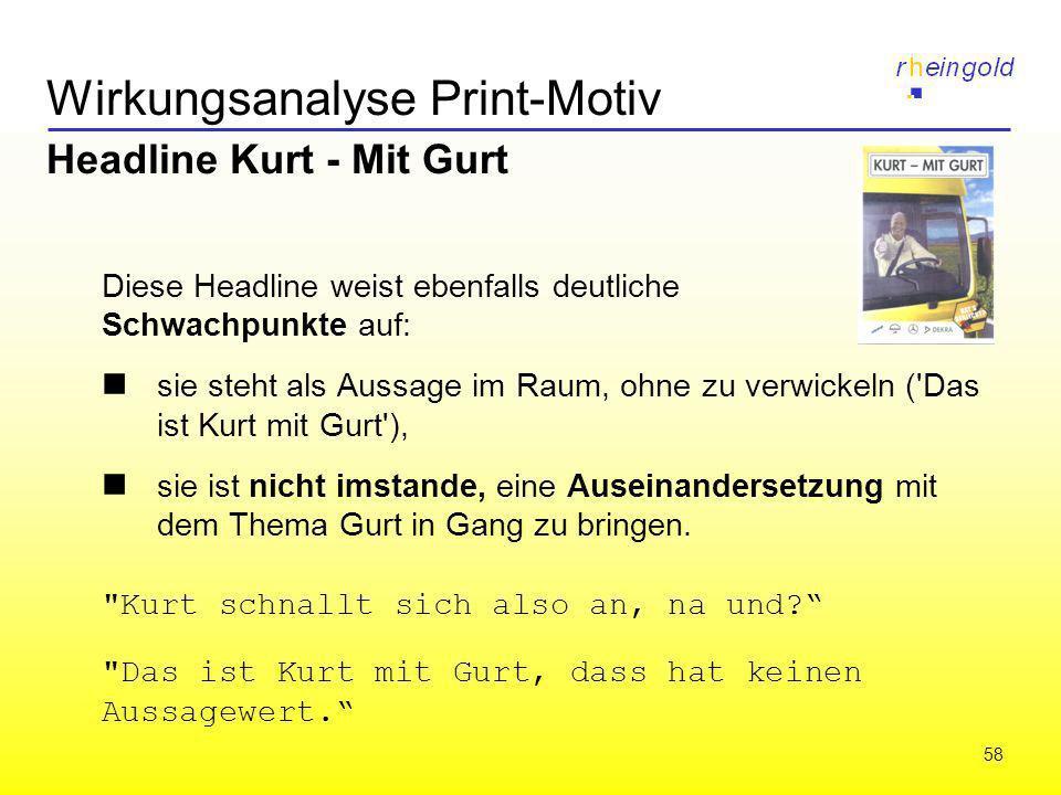 58 Wirkungsanalyse Print-Motiv Headline Kurt - Mit Gurt Diese Headline weist ebenfalls deutliche Schwachpunkte auf: sie steht als Aussage im Raum, ohn