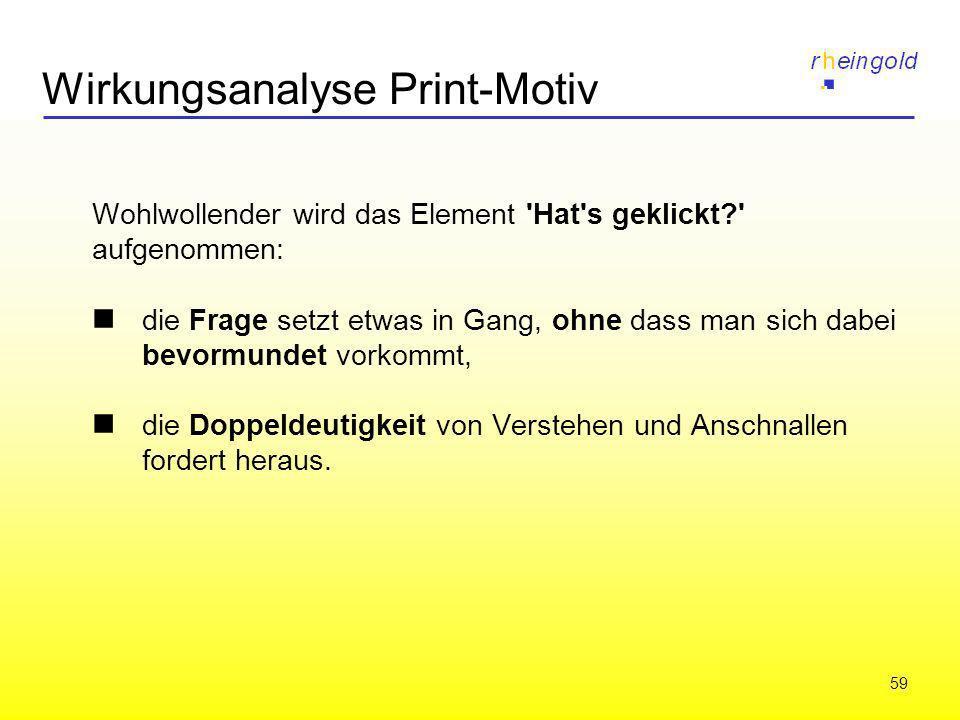 59 Wirkungsanalyse Print-Motiv Wohlwollender wird das Element 'Hat's geklickt?' aufgenommen: die Frage setzt etwas in Gang, ohne dass man sich dabei b