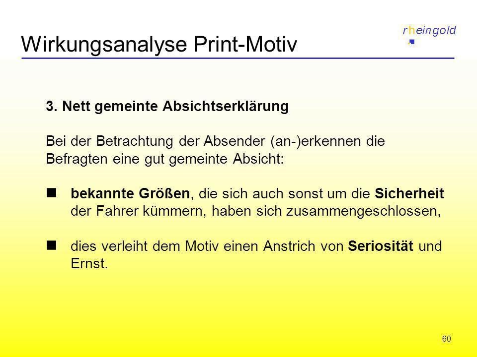 60 Wirkungsanalyse Print-Motiv 3. Nett gemeinte Absichtserklärung Bei der Betrachtung der Absender (an-)erkennen die Befragten eine gut gemeinte Absic