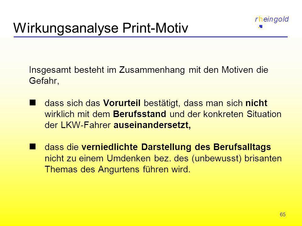 65 Wirkungsanalyse Print-Motiv Insgesamt besteht im Zusammenhang mit den Motiven die Gefahr, dass sich das Vorurteil bestätigt, dass man sich nicht wi