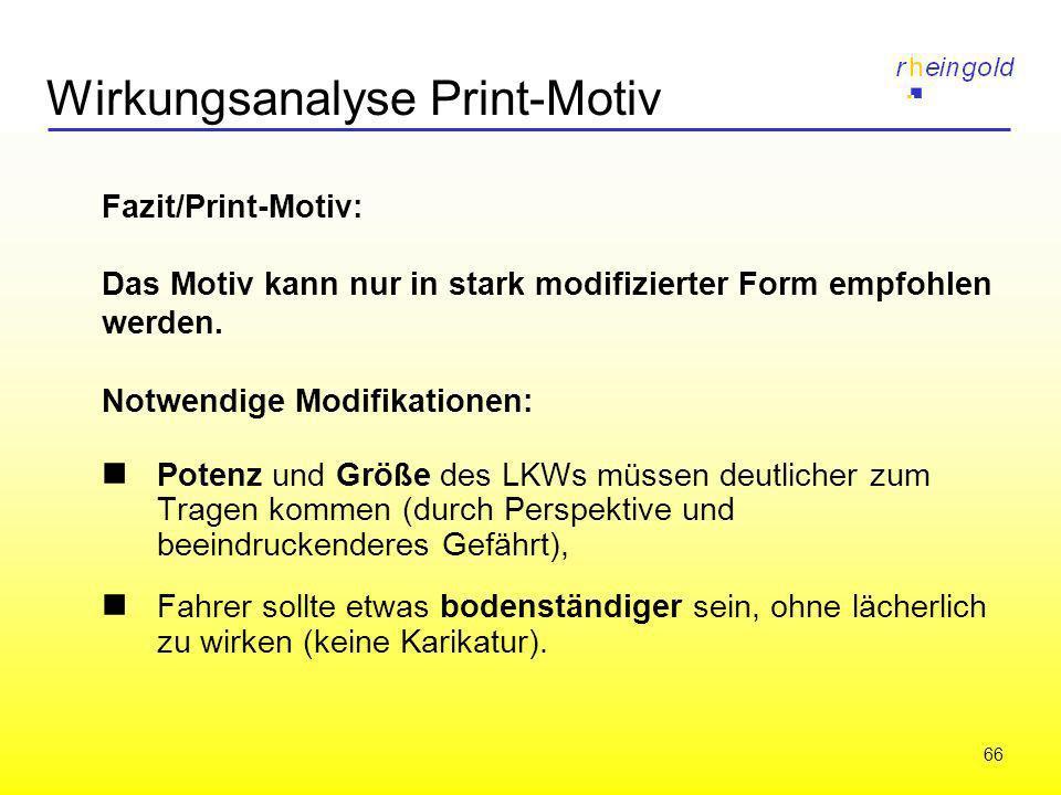 66 Wirkungsanalyse Print-Motiv Fazit/Print-Motiv: Das Motiv kann nur in stark modifizierter Form empfohlen werden. Notwendige Modifikationen: Potenz u