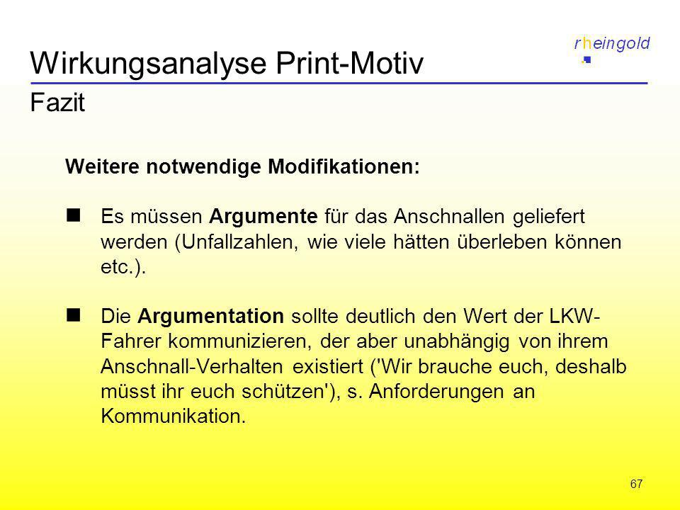 67 Wirkungsanalyse Print-Motiv Fazit Weitere notwendige Modifikationen: Es müssen Argumente für das Anschnallen geliefert werden (Unfallzahlen, wie vi