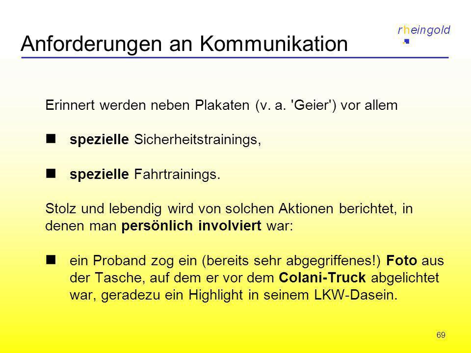 69 Anforderungen an Kommunikation Erinnert werden neben Plakaten (v. a. 'Geier') vor allem spezielle Sicherheitstrainings, spezielle Fahrtrainings. St