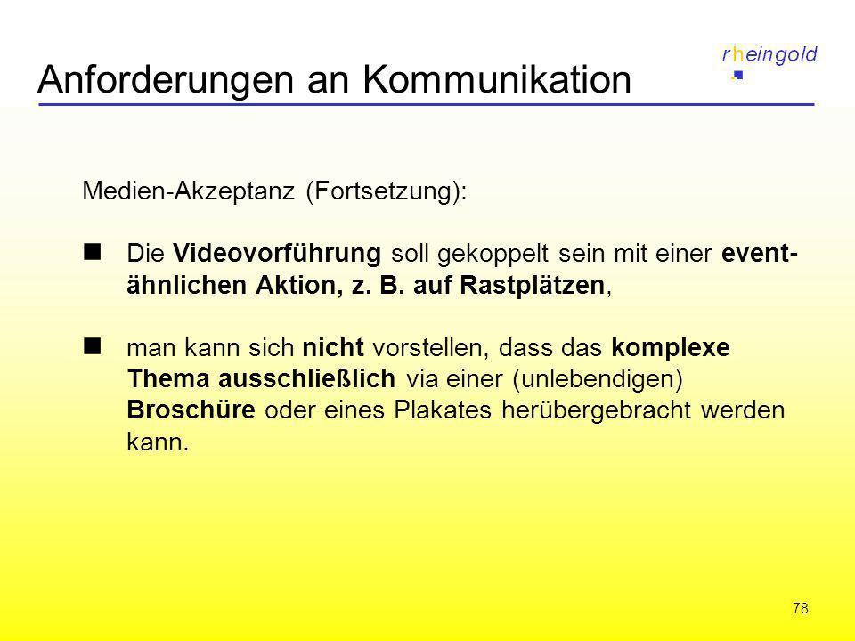 78 Anforderungen an Kommunikation Medien-Akzeptanz (Fortsetzung): Die Videovorführung soll gekoppelt sein mit einer event- ähnlichen Aktion, z. B. auf