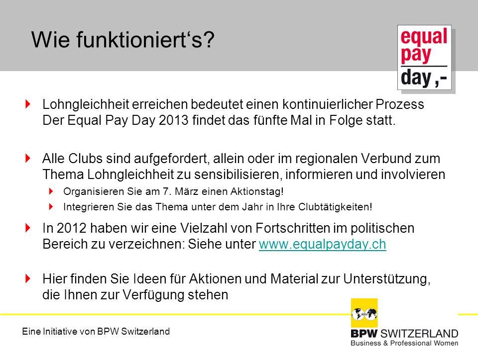 Wie funktionierts? Lohngleichheit erreichen bedeutet einen kontinuierlicher Prozess Der Equal Pay Day 2013 findet das fünfte Mal in Folge statt. Alle