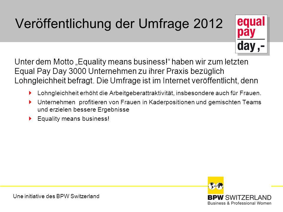 Veröffentlichung der Umfrage 2012 Unter dem Motto Equality means business! haben wir zum letzten Equal Pay Day 3000 Unternehmen zu ihrer Praxis bezügl