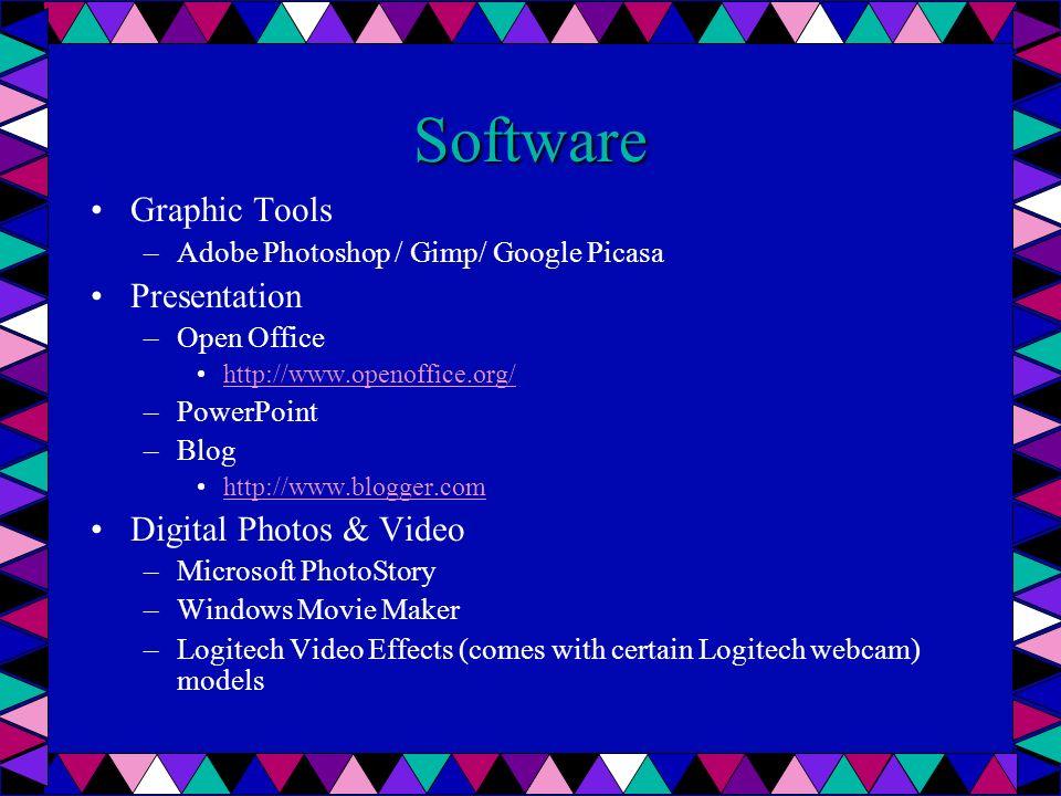 Digitales Video Software –Microsoft Photostory (Free download) http://www.microsoft.com/windowsxp/using/ digitalphotography/photostory/default.mspxhttp://www.microsoft.com/windowsxp/using/ digitalphotography/photostory/default.mspx Ex.