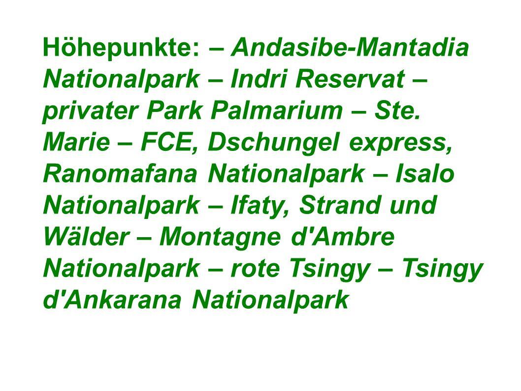 Höhepunkte: – Andasibe-Mantadia Nationalpark – Indri Reservat – privater Park Palmarium – Ste.