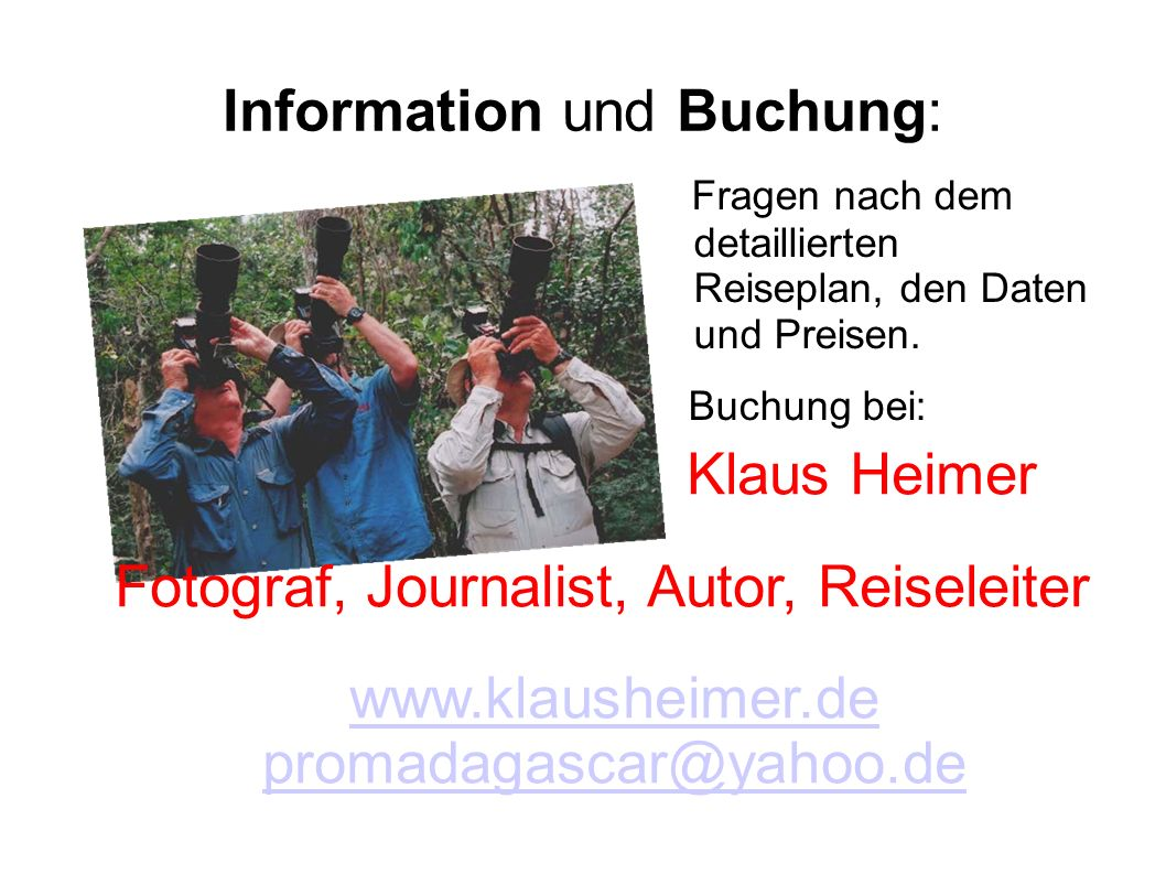 Information und Buchung: Fragen nach dem detaillierten Reiseplan, den Daten und Preisen.