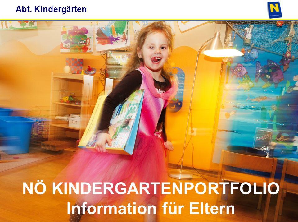 Abt. Kindergärten Titel Datum NÖ KINDERGARTENPORTFOLIO Information für Eltern NÖ KINDERGARTENPORTFOLIO Information für Eltern