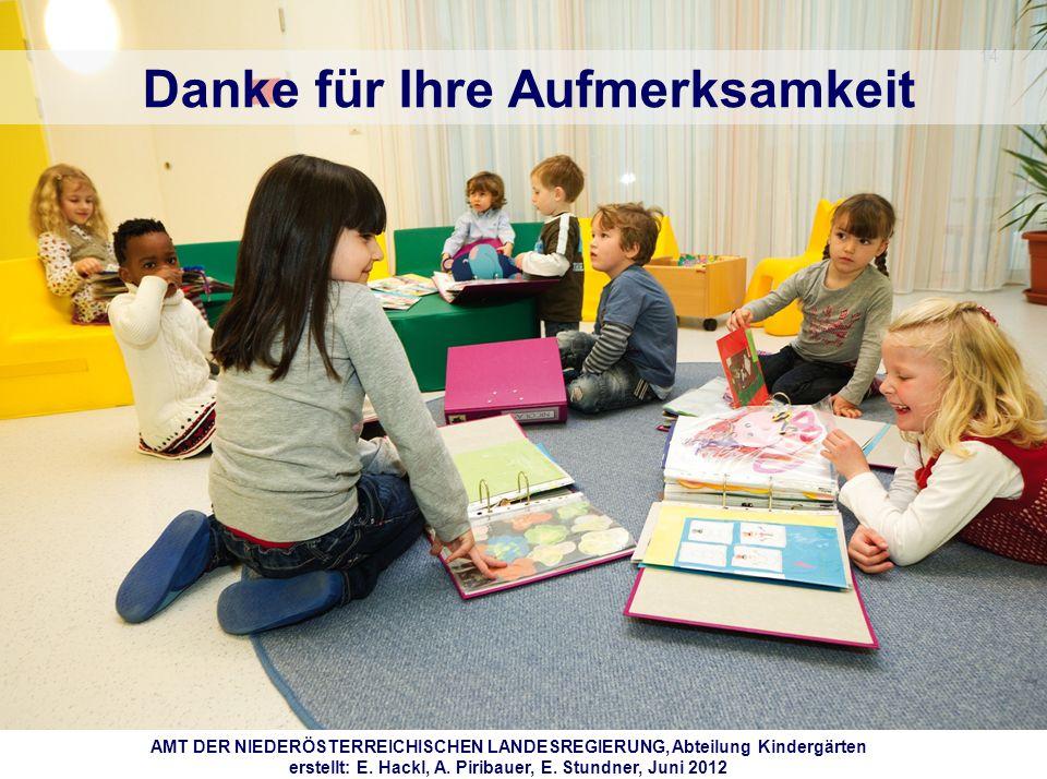 14 Danke für Ihre Aufmerksamkeit AMT DER NIEDERÖSTERREICHISCHEN LANDESREGIERUNG, Abteilung Kindergärten erstellt: E. Hackl, A. Piribauer, E. Stundner,