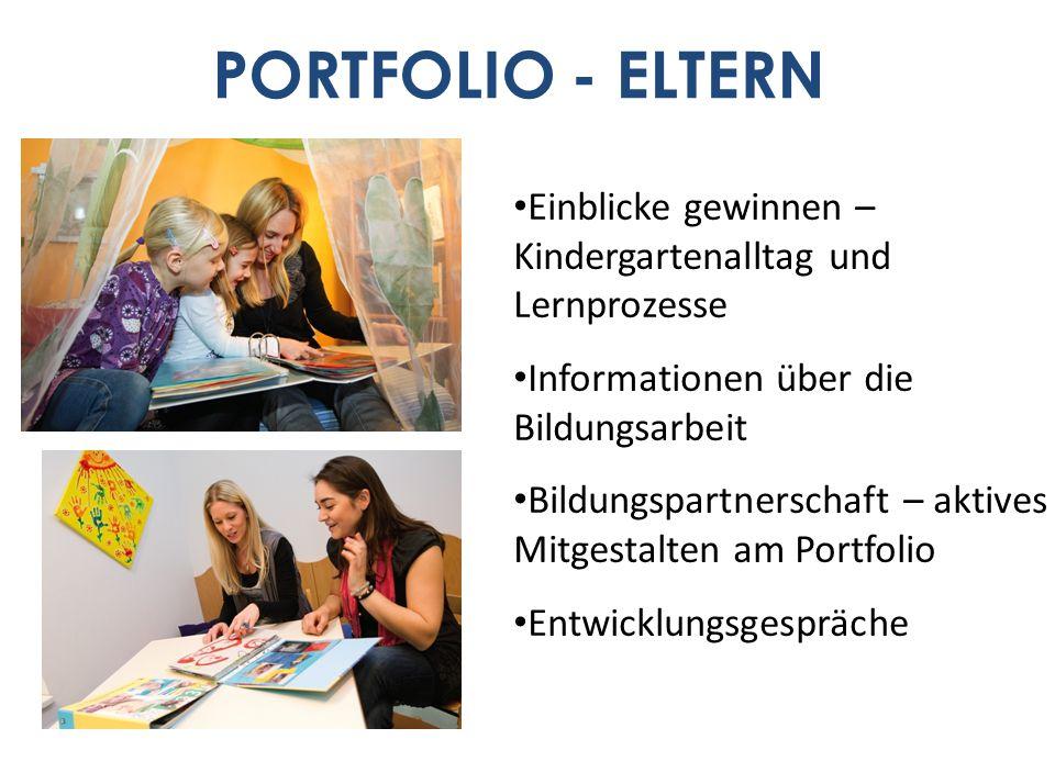 PORTFOLIO - ELTERN Einblicke gewinnen – Kindergartenalltag und Lernprozesse Informationen über die Bildungsarbeit Bildungspartnerschaft – aktives Mitg