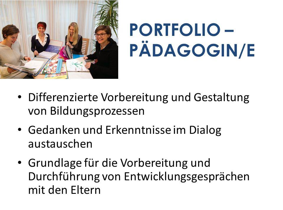 PORTFOLIO – PÄDAGOGIN/E Differenzierte Vorbereitung und Gestaltung von Bildungsprozessen Gedanken und Erkenntnisse im Dialog austauschen Grundlage für