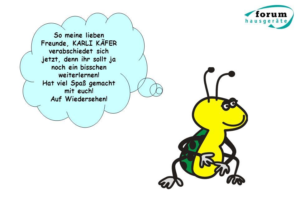 So meine lieben Freunde, KARLI KÄFER verabschiedet sich jetzt, denn ihr sollt ja noch ein bisschen weiterlernen! Hat viel Spaß gemacht mit euch! Auf W