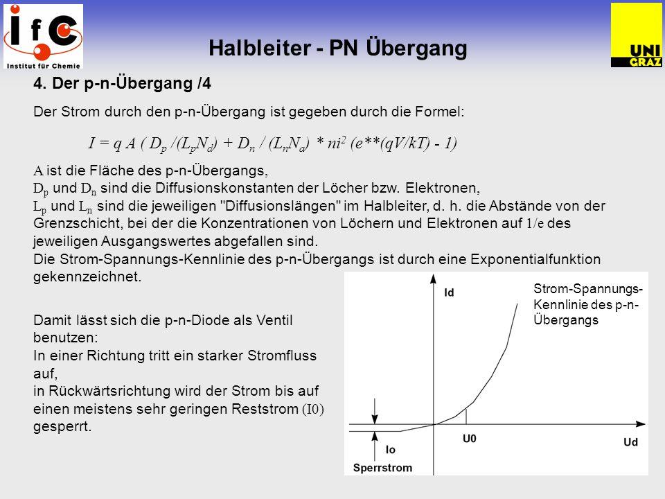 Halbleiter - PN Übergang 4. Der p-n-Übergang /4 Der Strom durch den p-n-Übergang ist gegeben durch die Formel: I = q A ( D p /(L p N d ) + D n / (L n