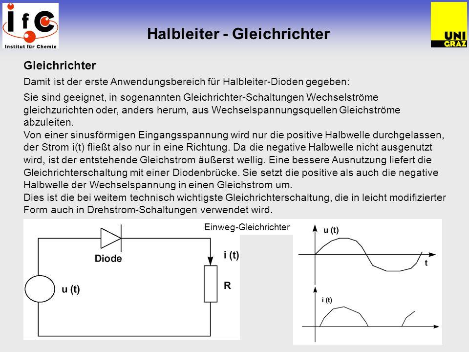 Halbleiter - Gleichrichter Gleichrichter Damit ist der erste Anwendungsbereich für Halbleiter-Dioden gegeben: Sie sind geeignet, in sogenannten Gleich