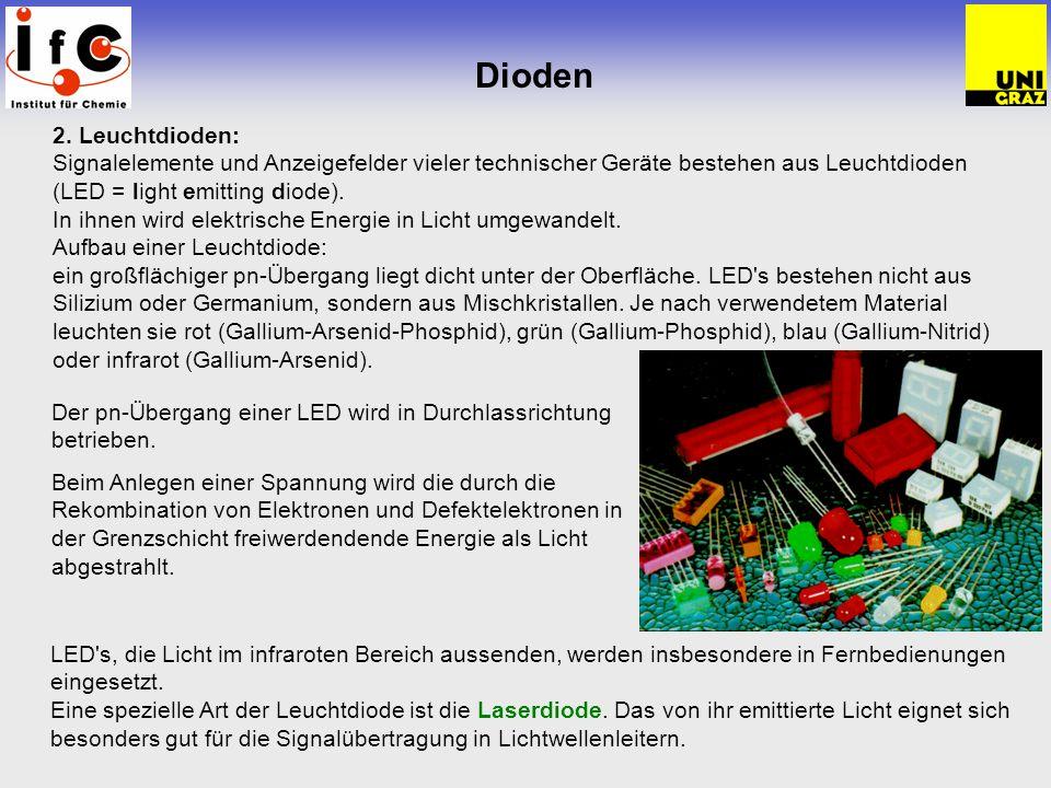 Dioden 2. Leuchtdioden: Signalelemente und Anzeigefelder vieler technischer Geräte bestehen aus Leuchtdioden (LED = light emitting diode). In ihnen wi