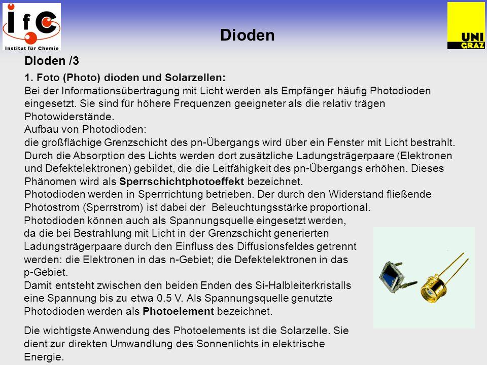 Dioden Dioden /3 1. Foto (Photo) dioden und Solarzellen: Bei der Informationsübertragung mit Licht werden als Empfänger häufig Photodioden eingesetzt.