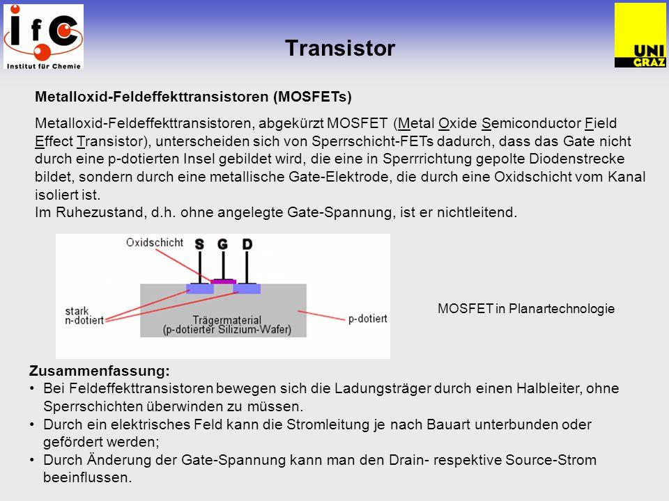 Transistor MOSFET in Planartechnologie Metalloxid-Feldeffekttransistoren (MOSFETs) Metalloxid-Feldeffekttransistoren, abgekürzt MOSFET (Metal Oxide Se