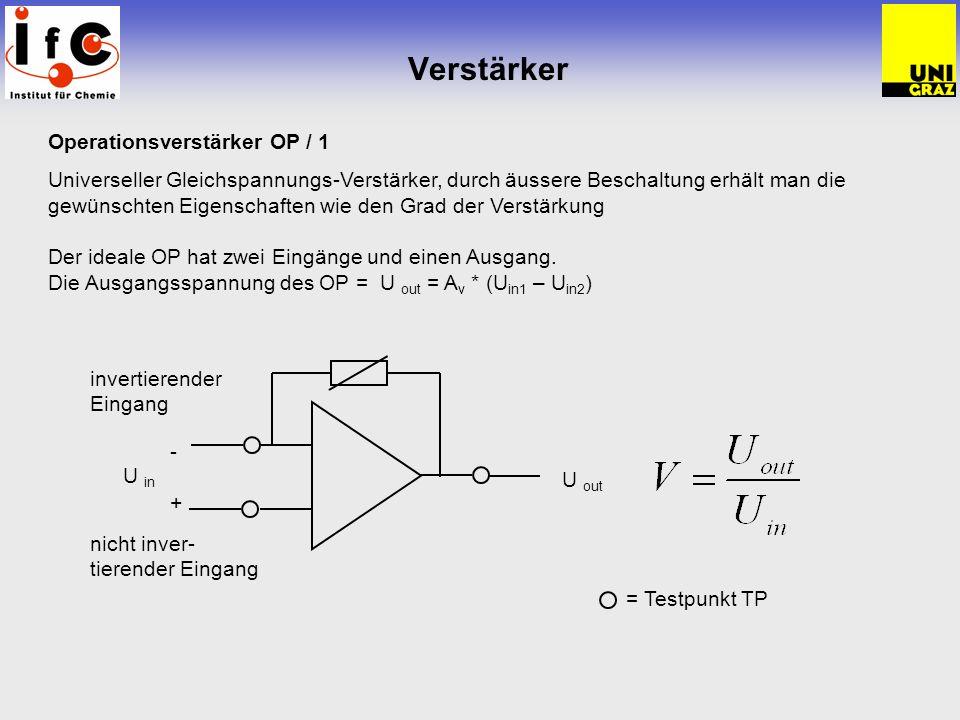 Verstärker Operationsverstärker OP / 1 Universeller Gleichspannungs-Verstärker, durch äussere Beschaltung erhält man die gewünschten Eigenschaften wie