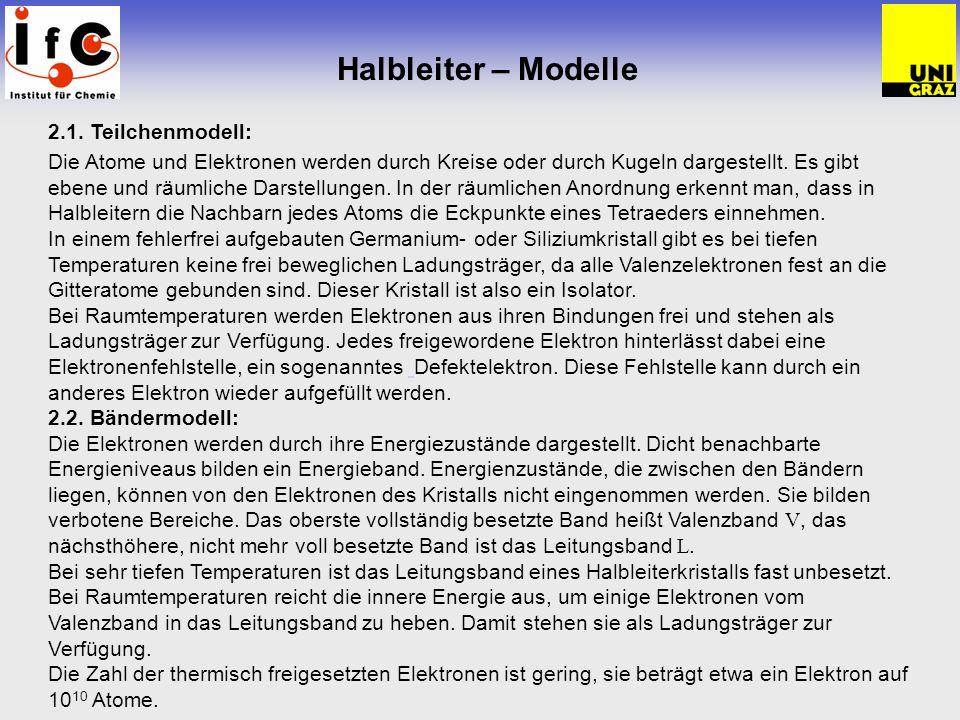 Halbleiter – Modelle 2.1. Teilchenmodell: Die Atome und Elektronen werden durch Kreise oder durch Kugeln dargestellt. Es gibt ebene und räumliche Dars