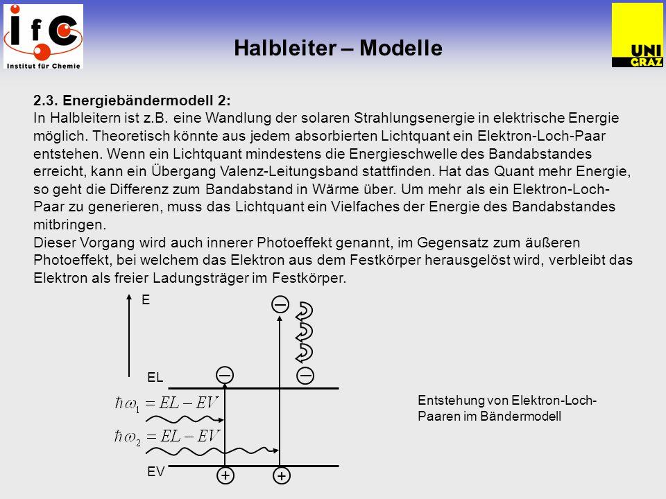 Halbleiter – Modelle 2.3. Energiebändermodell 2: In Halbleitern ist z.B. eine Wandlung der solaren Strahlungsenergie in elektrische Energie möglich. T