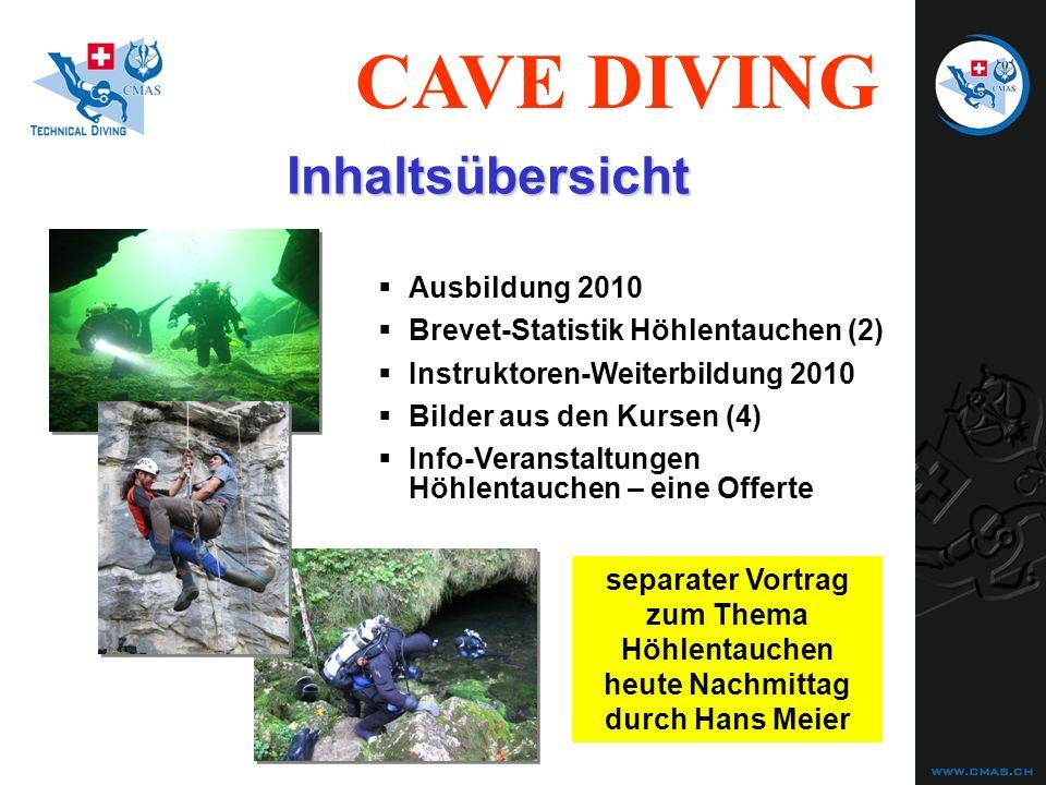 CAVE DIVING Ausbildung 2010 Brevet-Statistik Höhlentauchen (2) Instruktoren-Weiterbildung 2010 Bilder aus den Kursen (4) Instruktoren-Weiterbildung (2) 2011 Info-Veranstaltungen Höhlentauchen – eine Offerte Inhaltsübersicht