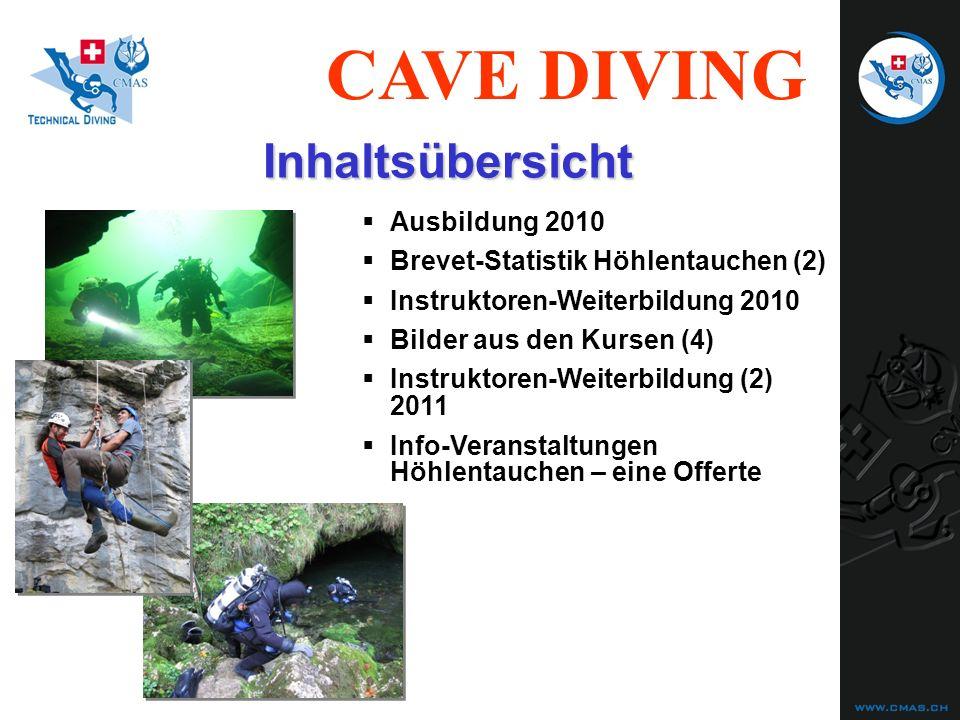 CAVE DIVING Ausbildung 2010 Brevet-Statistik Höhlentauchen (2) Instruktoren-Weiterbildung 2010 Bilder aus den Kursen (4) Instruktoren-Weiterbildung (2