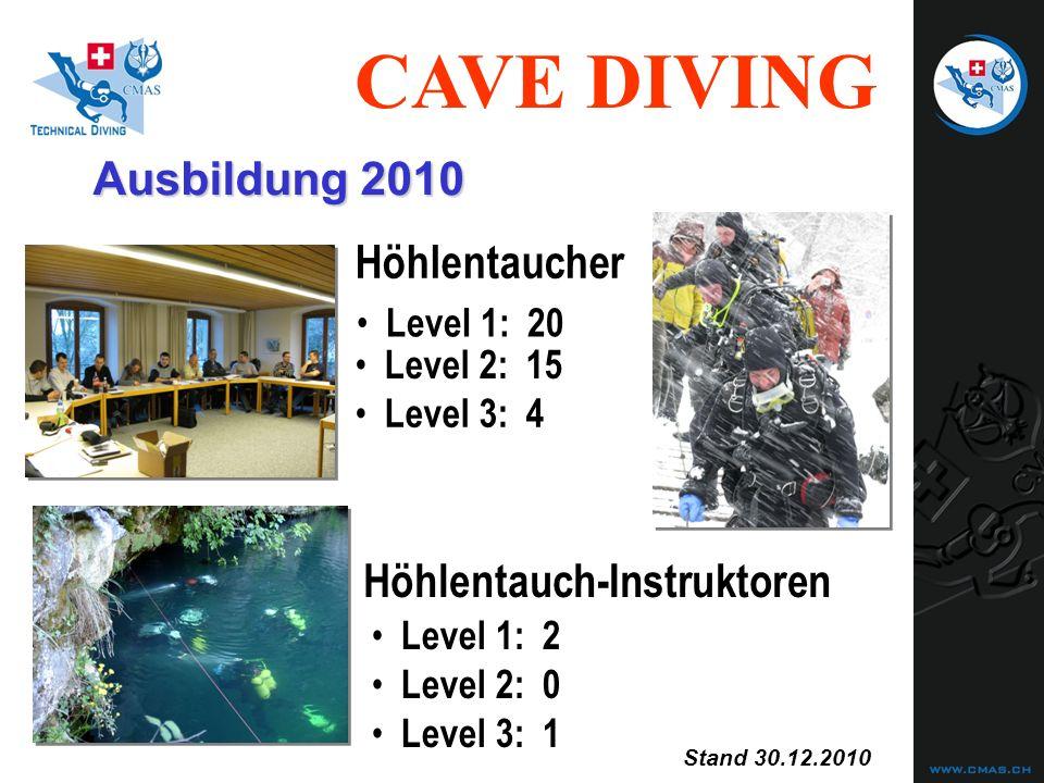CAVE DIVING Level 2:15 Level 1:20 Level 1:2 Level 2:0 Level 3:1 Höhlentaucher Höhlentauch-Instruktoren Ausbildung 2010 Level 3:4 Stand 30.12.2010