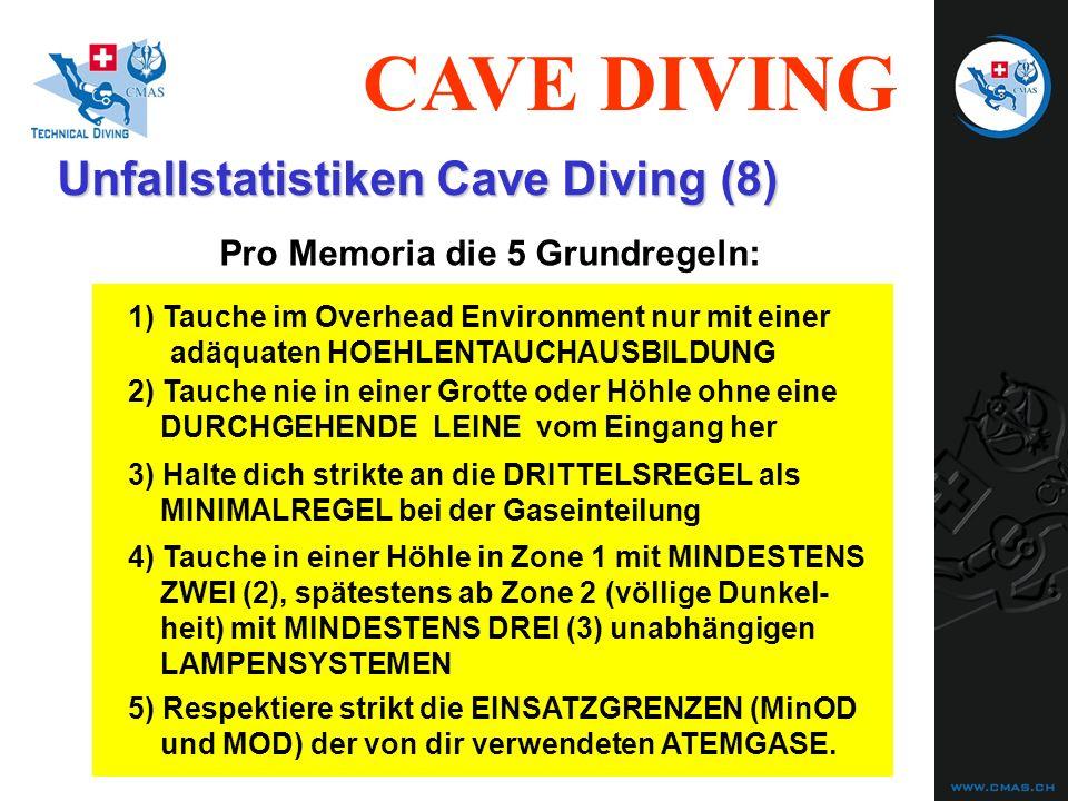 CAVE DIVING Unfallstatistiken Cave Diving (8) Pro Memoria die 5 Grundregeln: 2) Tauche nie in einer Grotte oder Höhle ohne eine DURCHGEHENDE LEINE vom