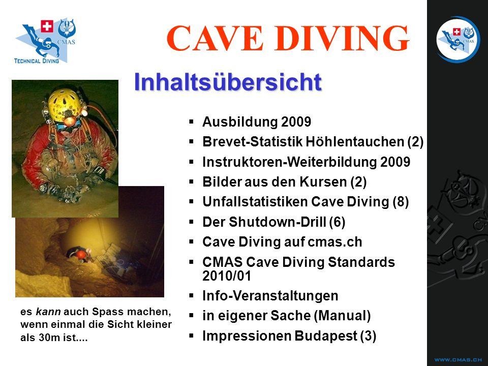 CAVE DIVING Unfallstatistiken Cave Diving (5) Haupt-Todesursache: 1) Ertrinken 2) AGE Vorangehendes Ereignis bei Ertrinken: 1) Out-of-Air (Gas) trained (74)untrained (208) 47 (64%)180 (87%) 7 (9%) 1 (0.5%) 31 (66%)134 (74%) Vorangegangenes Fehlverhalten bei Out-of-Air : 1) Verirrt (lost) 14 (45%)62 (46%) 3) Verheddert (in Leine o.ä.) 5 (16%) 9 (7%) 2) Zu wenig Atemgas eingepl.