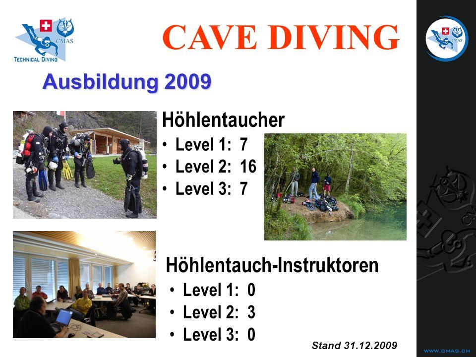 CAVE DIVING Unfallstatistiken Cave Diving (6) Auslösegrund für das Verirren: 1) Silt-out 5 (36%)33 (53%) 2) keine Leine 4 (29%)27 (44%) Auslösegrund für zuwenig Atemgas: 1) Schlechte Gasplanung 8 (100%)48 (98%) 2) Strömung 0 (0%)1 (2%) trained (14)untrained (62) 3) Falsch abgebogen 4 (29%)2 (3%) trained (8)untrained (49)
