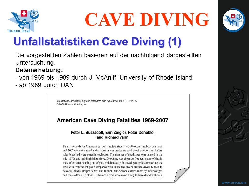 CAVE DIVING Unfallstatistiken Cave Diving (2) Systematik der Analyse: Todesursache (cause of death) unmittelbar vorangehende(s) Ereignis(se) (preceding event(s) ) dazu führendes Fehlverhalten (possible harmful acts) Auslöser dazu (Trigger) (possible triggers) Ebene 1 Ebene 2 Ebene 3 Ebene 4