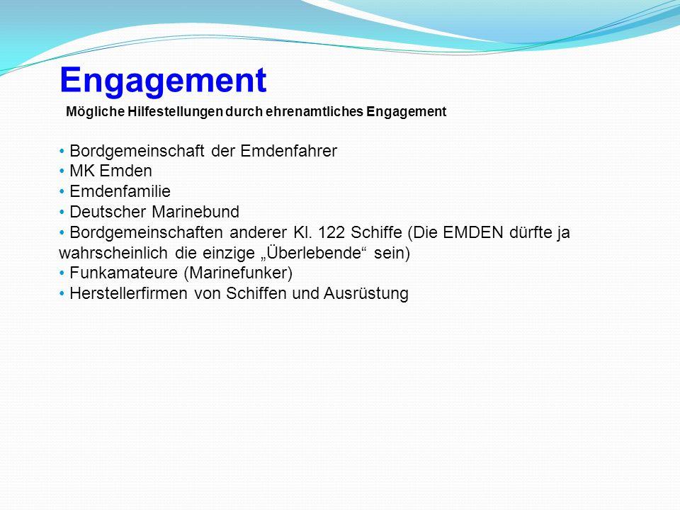 Mögliche Hilfestellungen durch ehrenamtliches Engagement Bordgemeinschaft der Emdenfahrer MK Emden Emdenfamilie Deutscher Marinebund Bordgemeinschafte