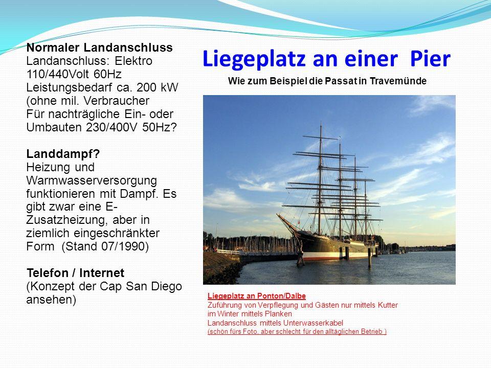 Liegeplatz an einer Pier Normaler Landanschluss Landanschluss: Elektro 110/440Volt 60Hz Leistungsbedarf ca. 200 kW (ohne mil. Verbraucher Für nachträg