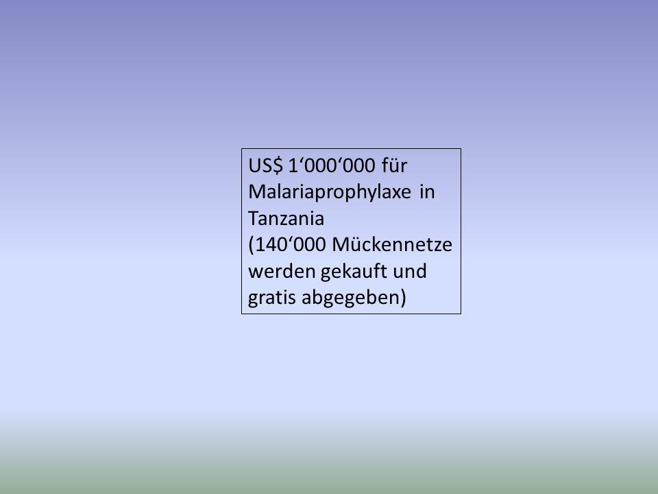 US$ 1000000 für Malariaprophylaxe in Tanzania (140000 Mückennetze werden gekauft und gratis abgegeben) Das meiste versprochene Geld wird nie gespendet.